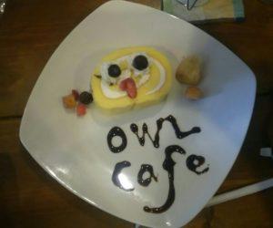フクロウのアイスロールケーキ