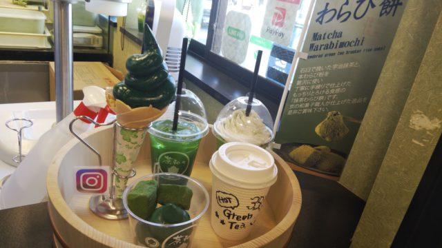 抹茶ソフトクリームや抹茶ラテやわらび餅の見本