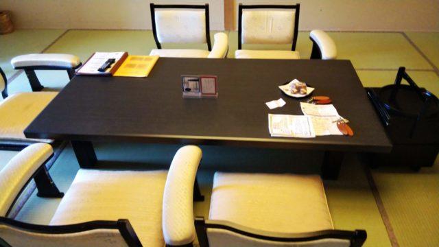 特別室の和室のテーブル