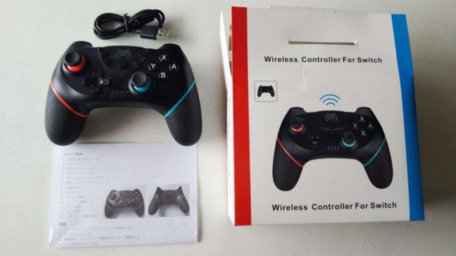 Switchコントローラーと接続ケーブルと説明書と箱