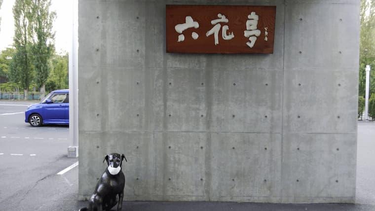 六花亭の看板とマスクをつけた番犬