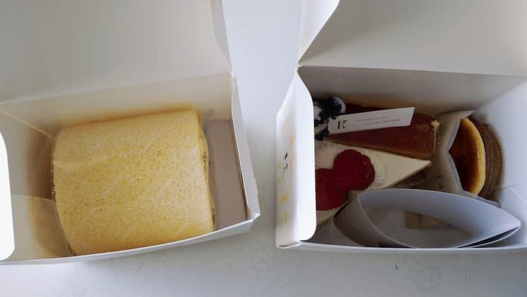 ロールケーキとショートケーキの箱