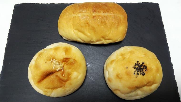 塩パン、あんぱん、クリームパン